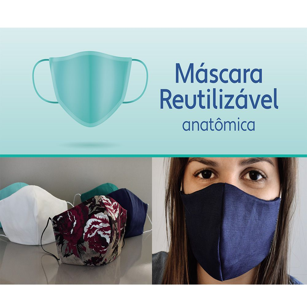 Máscara Reutilizável Anatômica 18cmx10cm Pct com 5 Cores Sortidas