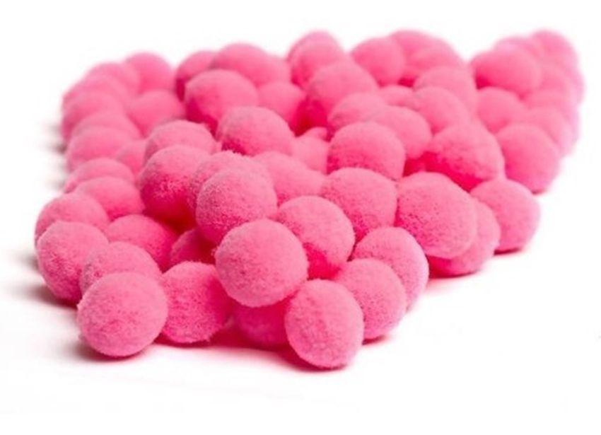 Mini Pompom de Fibra Sintética para Artesanato Rosa