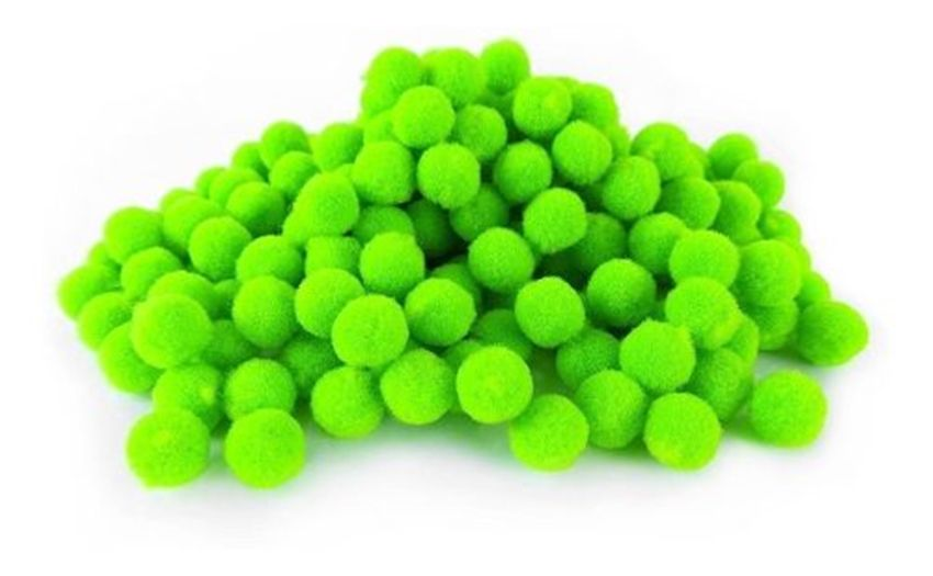 Mini Pompom de Fibra Sintética para Artesanato Verde