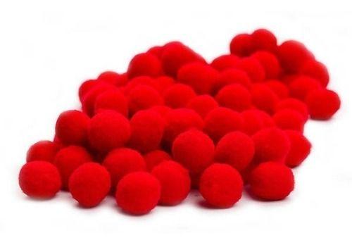 Mini Pompom de Fibra Sintética para Artesanato Vermelho
