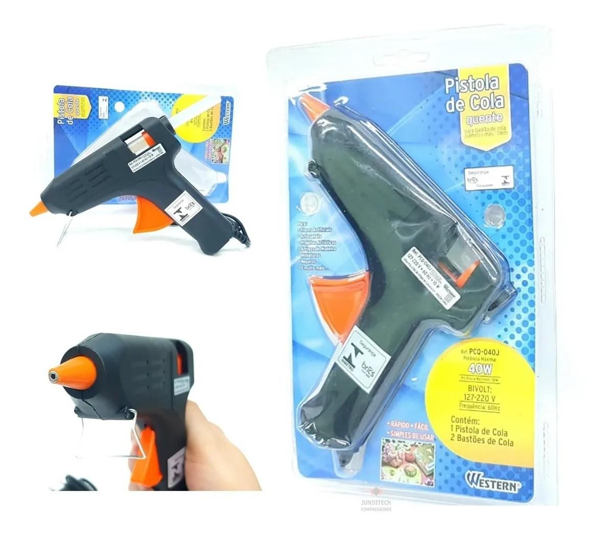 Pistola de Cola Quente 40W Bivolt Western PCQ-040J  - Bastex Artesanatos