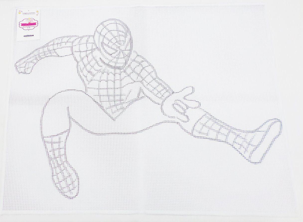 Tela Talagarça Desenhada Homem Aranha - 0,90 x 0,70cm  - Bastex Artesanatos