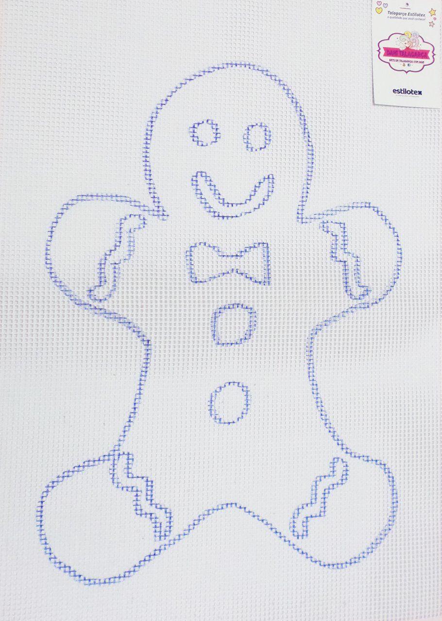 Tela Talagarça Desenhada Homem Biscoito - 0,50 x 0,70cm