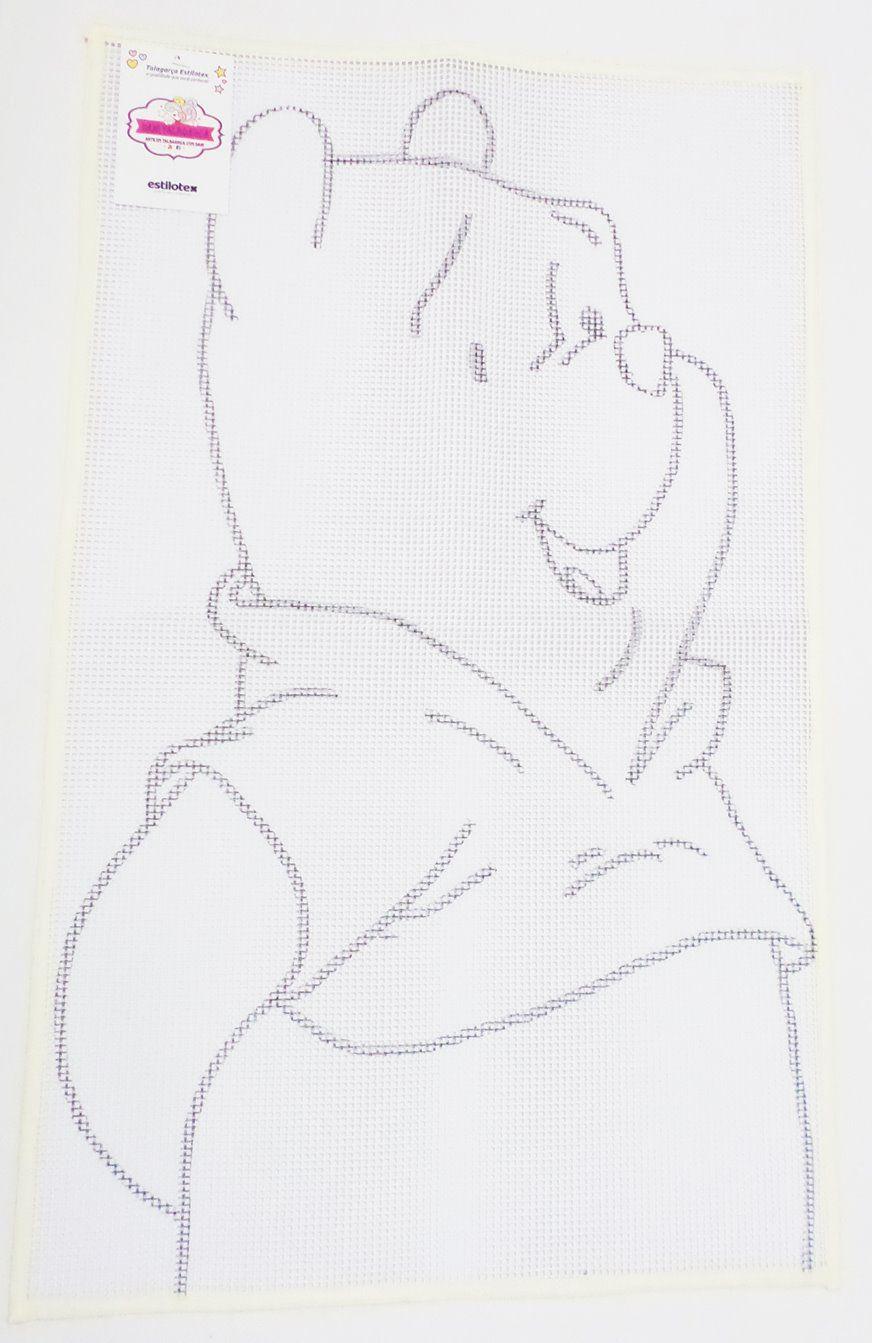 Tela Talagarça Desenhada Ursinho Pooh - 0,52 x 0,88cm  - Bastex Artesanatos