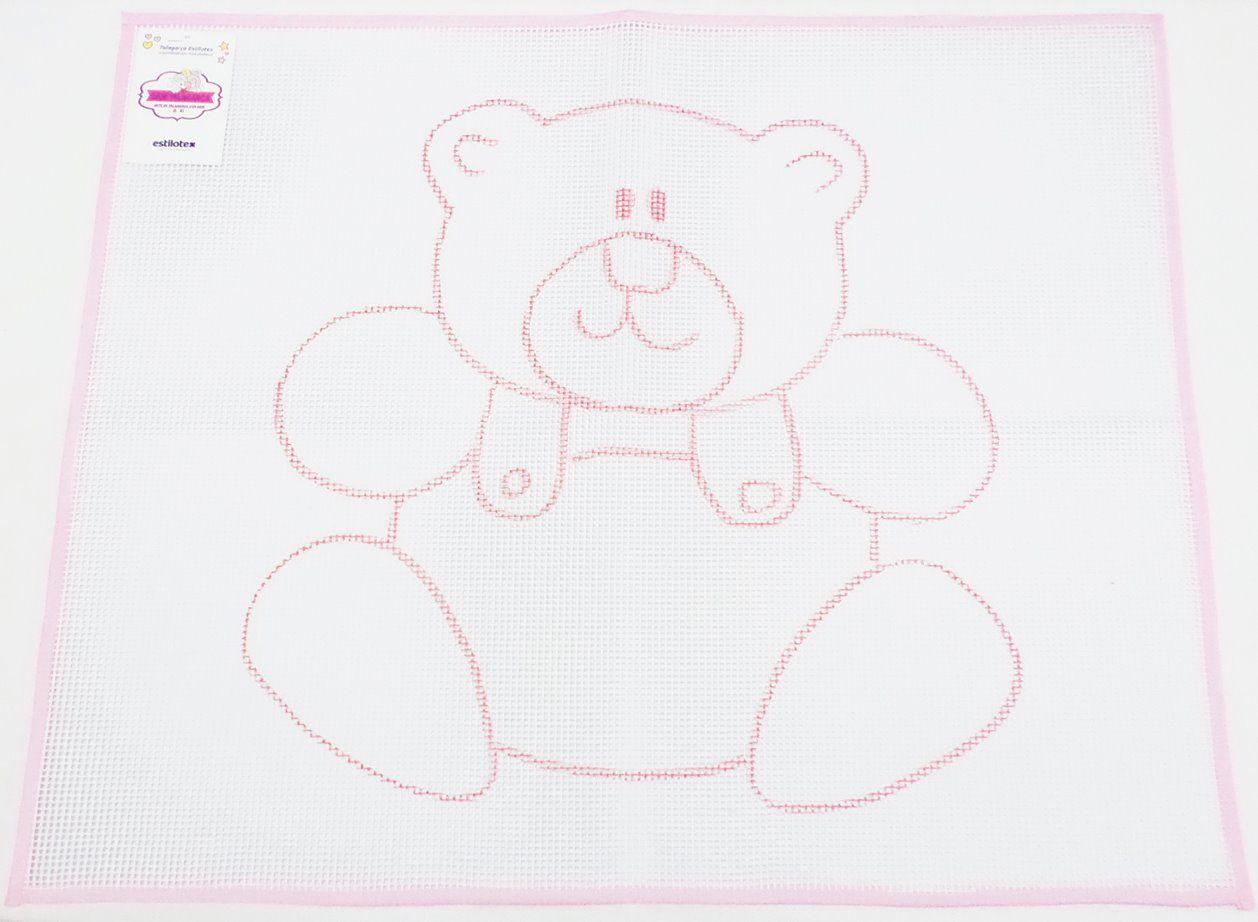 Tela Talagarça Desenhada Urso Fofo - 0,87 x 0,65cm
