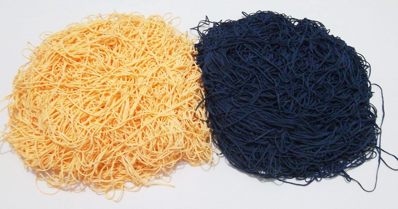Tira de Macarrão/Espaguete 1.360g Azul Marinho e Amarelo  - Bastex Artesanatos