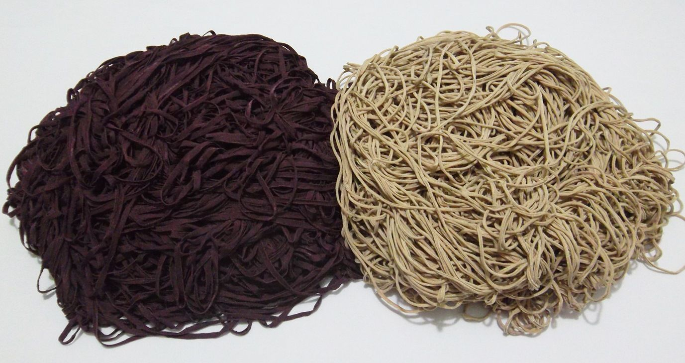 Tira de Macarrão/Espaguete 1.380g Bege e Vinho Escuro  - Bastex Artesanatos