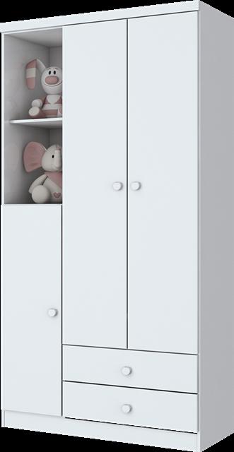 c5c0f2194 Roupeiro 03 Portas e 02 Gavetas Branco e Branco Rosa Chá Bala De Menta Henn