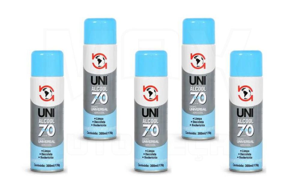Kit Álcool Aerossol Spray 70% 300ml - 5 Unidades