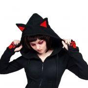 Moletom Manga-Luva Gato Preto Capuz Orelhinhas