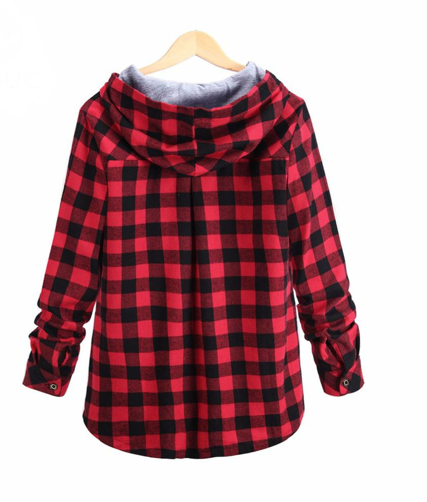 Camisa Feminina Xadrez Capuz