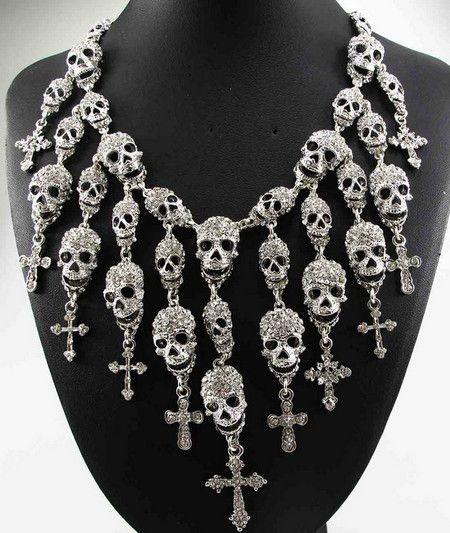 Colar Vintage Skull Cross