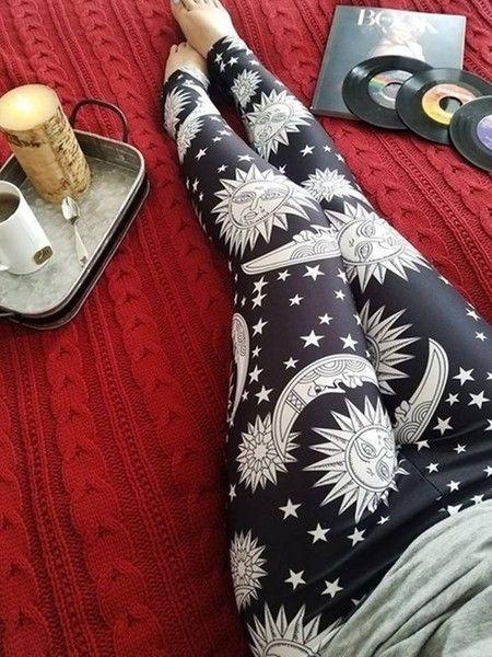 Legging Boho Galaxy Black White