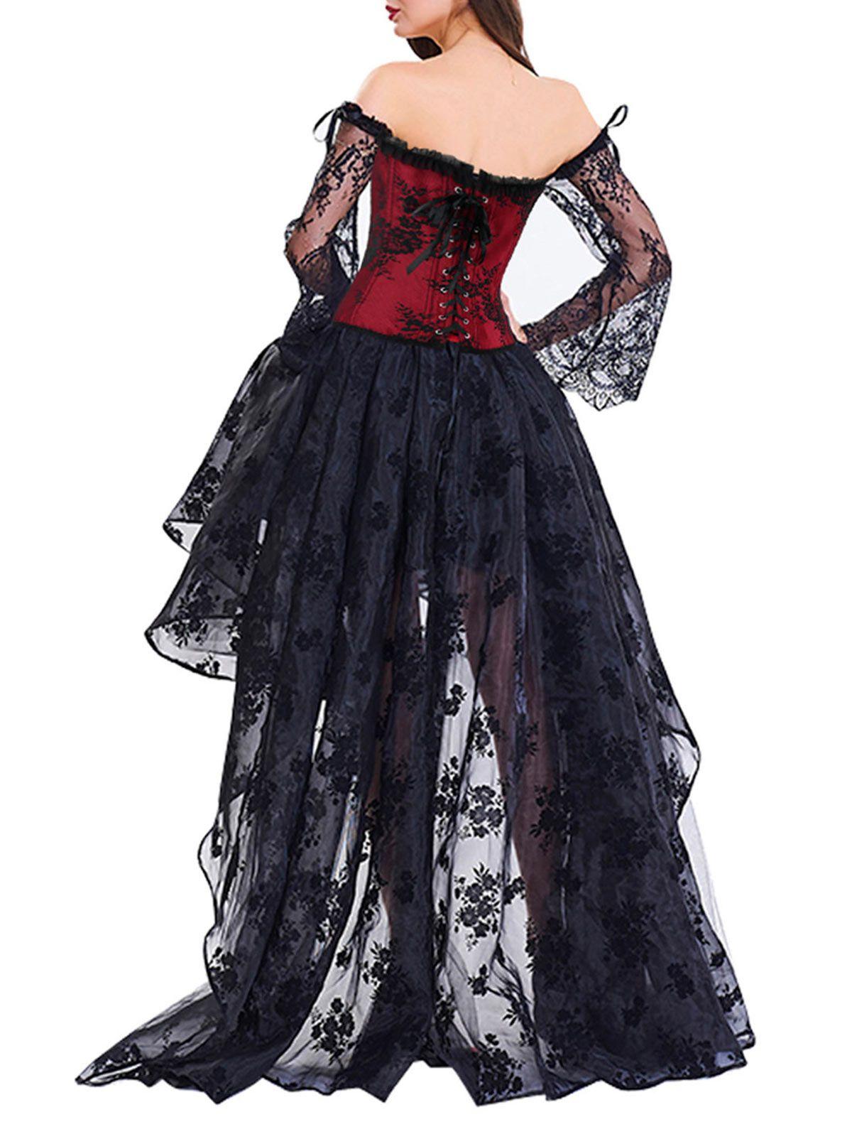 Vestido Renda Corset Manga Flare