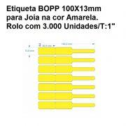 Etiqueta autoadesiva bopp/plastica medida 100X13mm Amarela - 3000 Etiquetas
