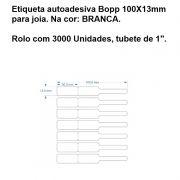 Etiqueta autoadesiva Bopp/Plastica Medida 100X13mm Branca - 3000 Unidades