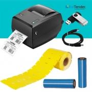 Kit Impressora de Etiquetas + 1200 Etiquetas de Gondola + 2 Fita Ribbon 110X74M Cera