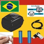 Kit Impressora de Etiquetas + 15.000 Etiquetas 100X13mm Joia + 2 Fita Ribbon 110X74M Misto Preto.
