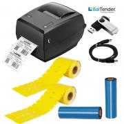Kit Impressora de Etiquetas + 2400 Etiquetas de Gondola + 2 Fita Ribbon 110X74M Cera