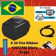 Kit Impressora de Etiquetas + 24 FITA RIBBON 110X74M Misto Preto.