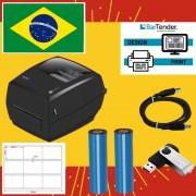 Kit Impressora de Etiquetas + 32.000 Etiquetas 34X23mm + 4 Fita Ribbon 110X74M Cera Preto.
