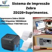 Kit Sistema de Impressão SSW Sistemas - ZD220+Etiquetas & Ribbons
