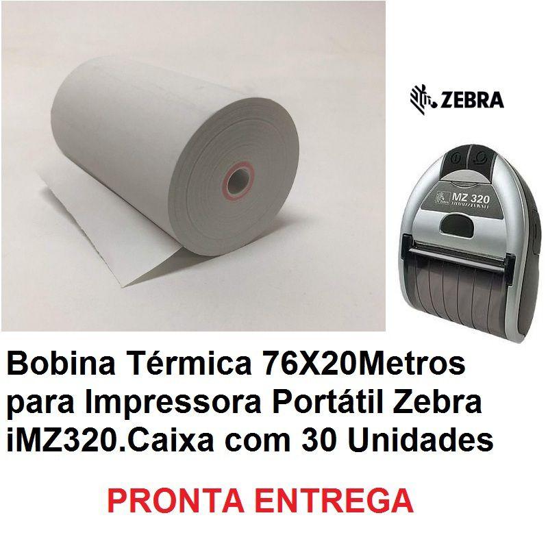 Bobina Térmica 76X20Metros Imz320/Zebra - Caixa com 30 Bobinas Amarela