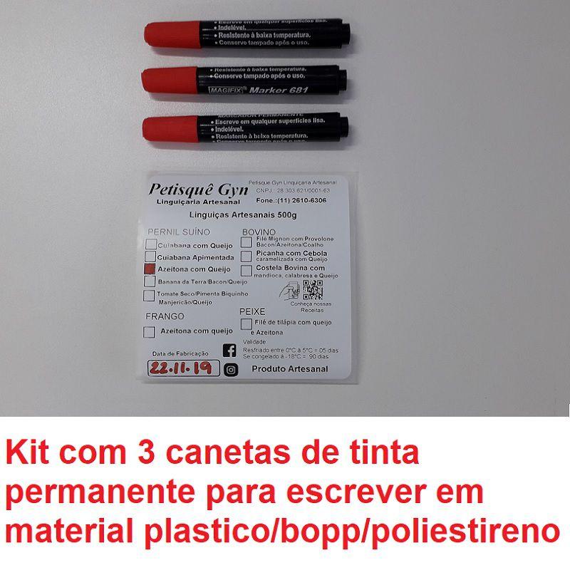 Caneta Especial Tinta Permanente Vermelha/3 Unidades