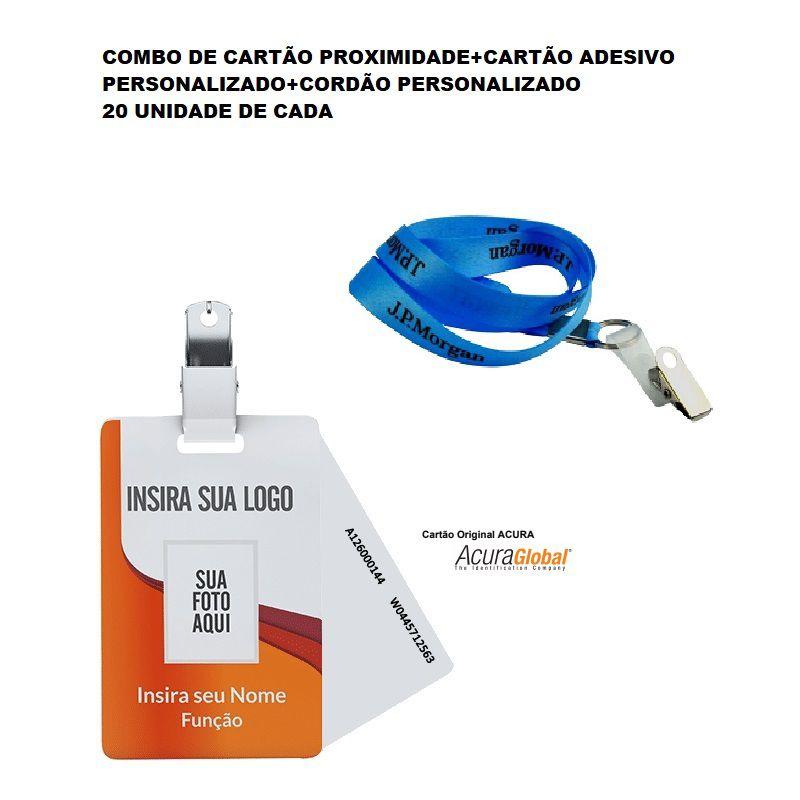 Combo Cartão de Proximidade+Cartão Adesivo Personalizado+Cordão Personalizado