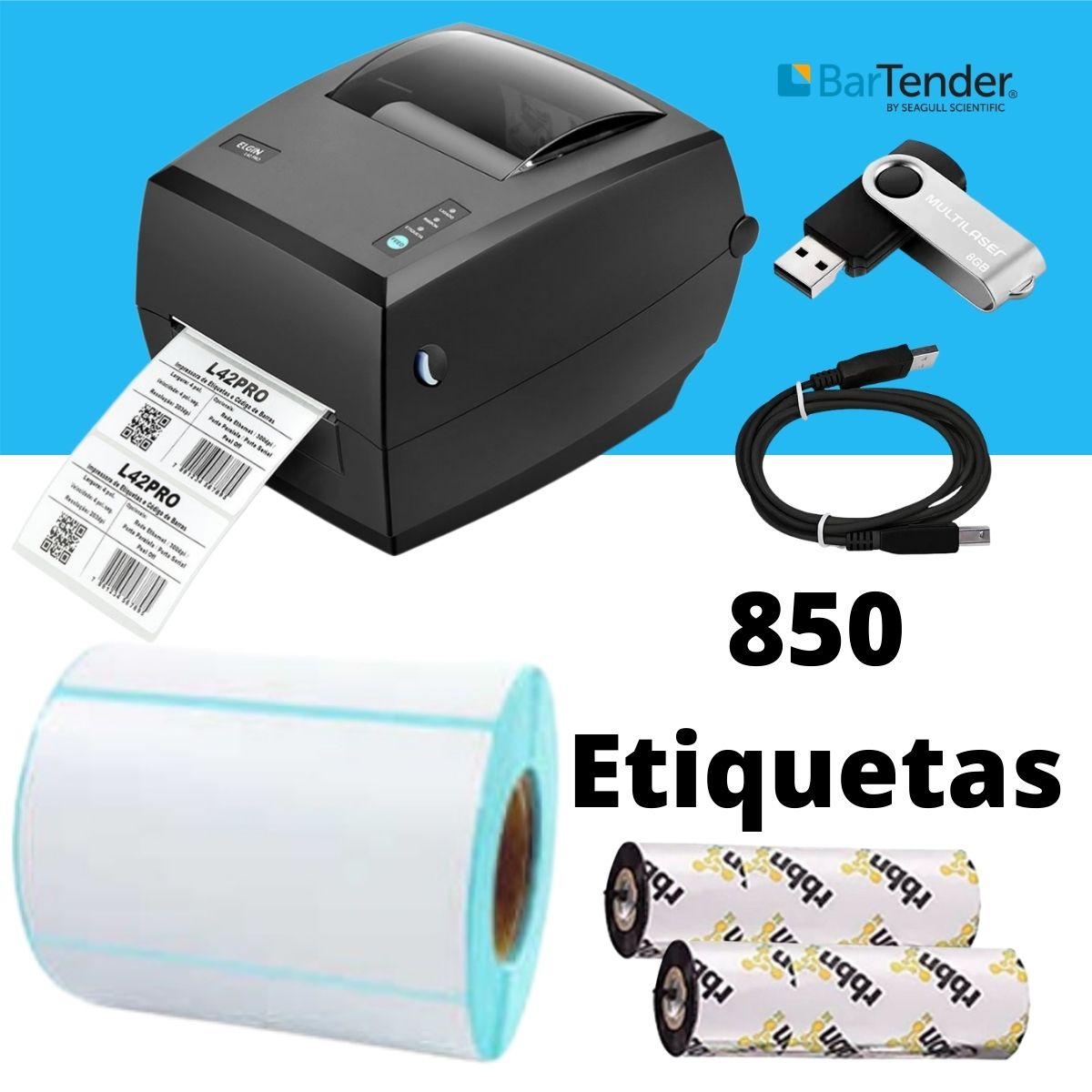 Combo Sistema de Impressão Marmitas 100X50mm Completo