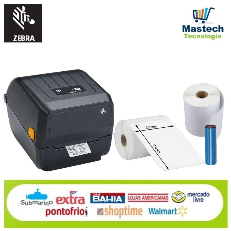Combo Zebra ZD220 + 490 Etiquetas 100X150mm papel Couche + 1 Fita Ribbon 110X75M Cera Preto.