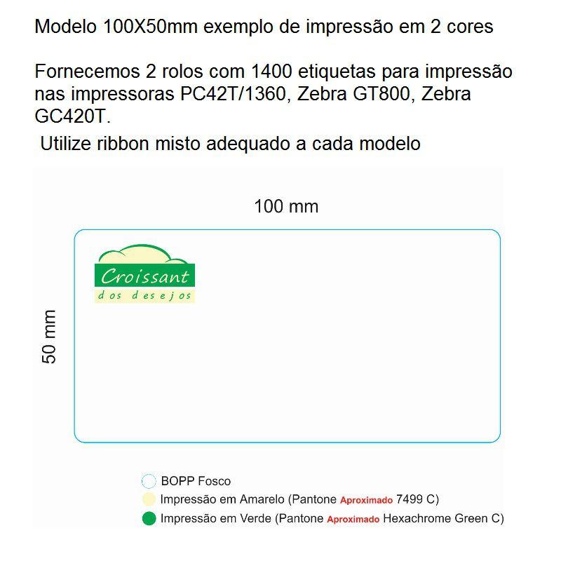 Etiqueta autoadesiva Bopp 100X50mm para congelados Personalizada em 2 cores