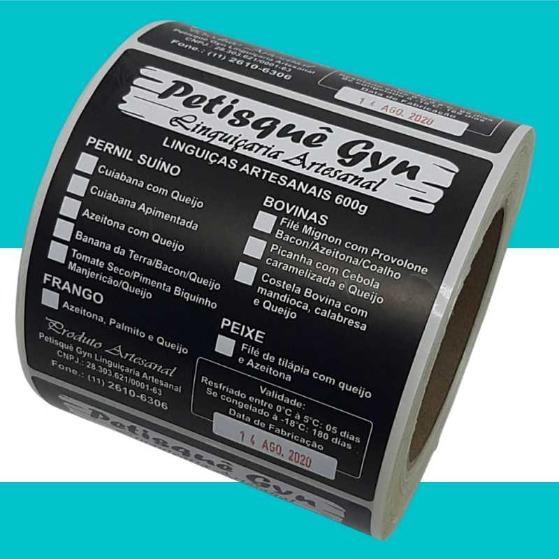 Etiqueta autoadesiva Bopp Fosco 100X100mm impressão em Preto/1000 Unidades