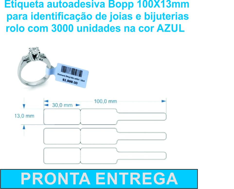ETIQUETA AUTOADESIVA BOPP/PLASTICA MEDIDA 100X13mm AZUL - 3000 Etiquetas