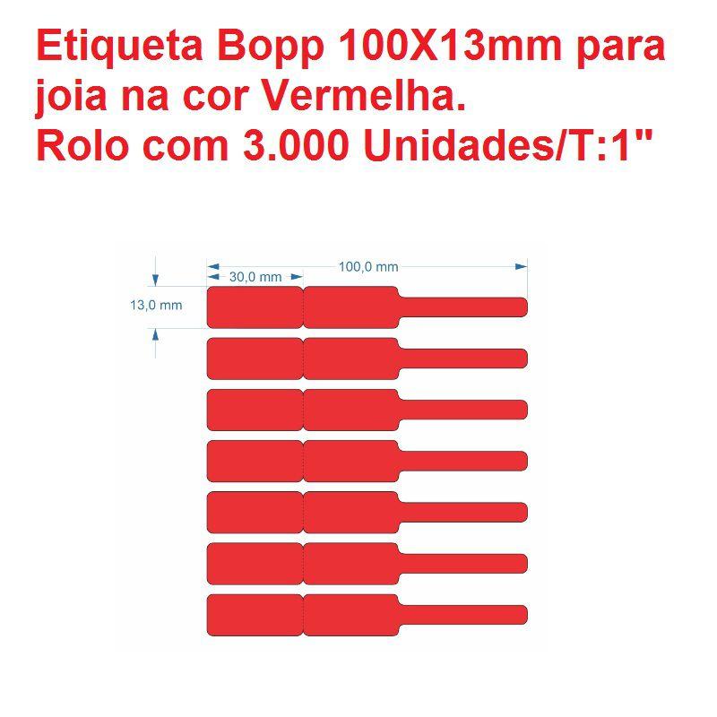 Etiqueta autoadesiva bopp/plastica medida 100X13mm Vermelha - 3000 unidades