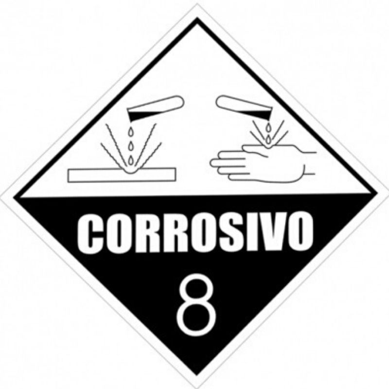Etiqueta de Simbologia de Risco - Corrosivo 8