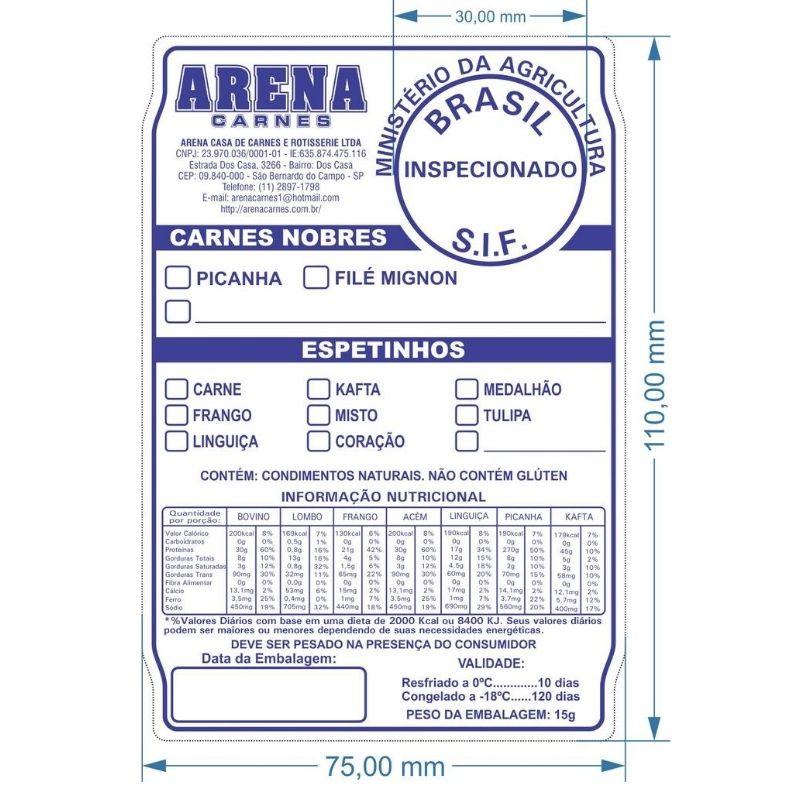 Etiqueta poliestireno 110X75mm colorida com 01 cor de impressão - 3.000 etiquetas