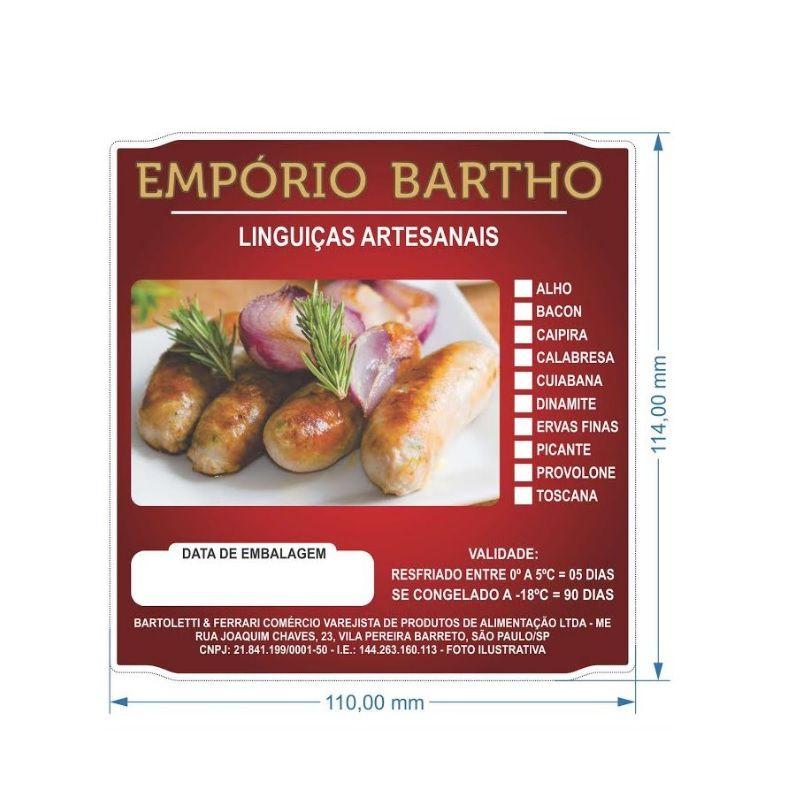 Etiqueta sem adesivo/poliestireno para embalagem de carnes 110X114mm - Personalizada/1000