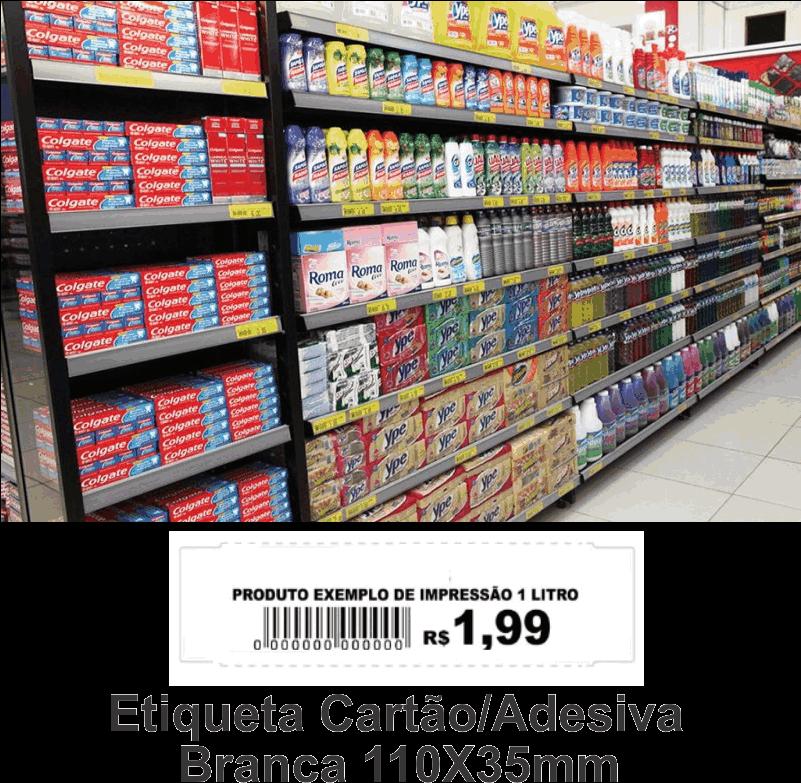 Etiquetas de Preço Prateleira/Gondola 110X35mm/1200 etiquetas