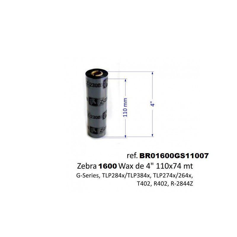 Fita ribbon 110X74 Cera Preto Zebra Original PN.: BR01600GS11007 CX:10 Unidades