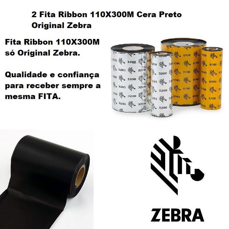 Fita Ribbon Zebra 110X300M Cera Preto - Caixa com 2 Unidades