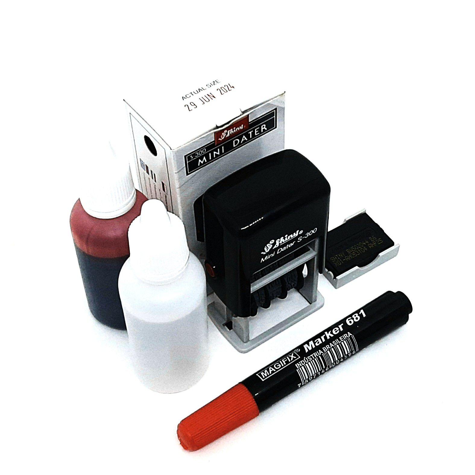 Kit Carimbo Datador Automático - Carimbo+Refil+Caneta+Tinta+Reativador.