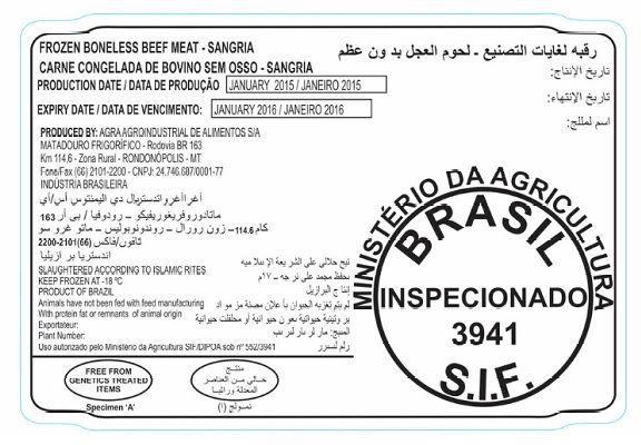 Kit - Etiqueta poliestireno branca 110X75mm para contato direto com a Carne (Etiqueta+Ribbon)