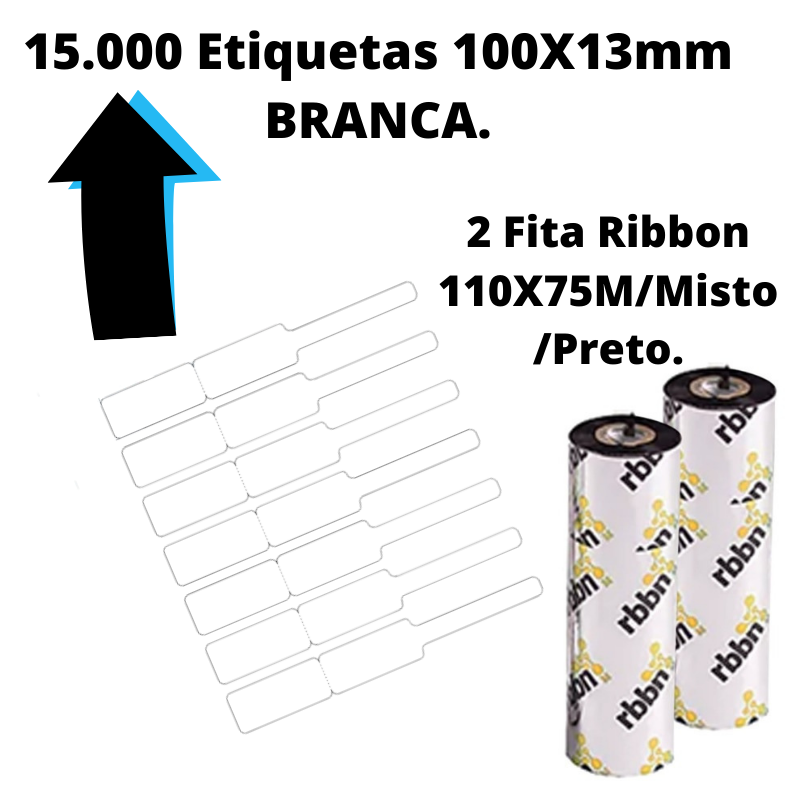 Novo Kit Joias - Etiquetas autoadesiva Bopp 100X13mm Joias (Etiqueta+Ribbon)