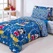 Kit Coordenado Solteiro Menino Infantil Edredom Jogo de Cama Completo Mickey Disney 4 Peças Azul