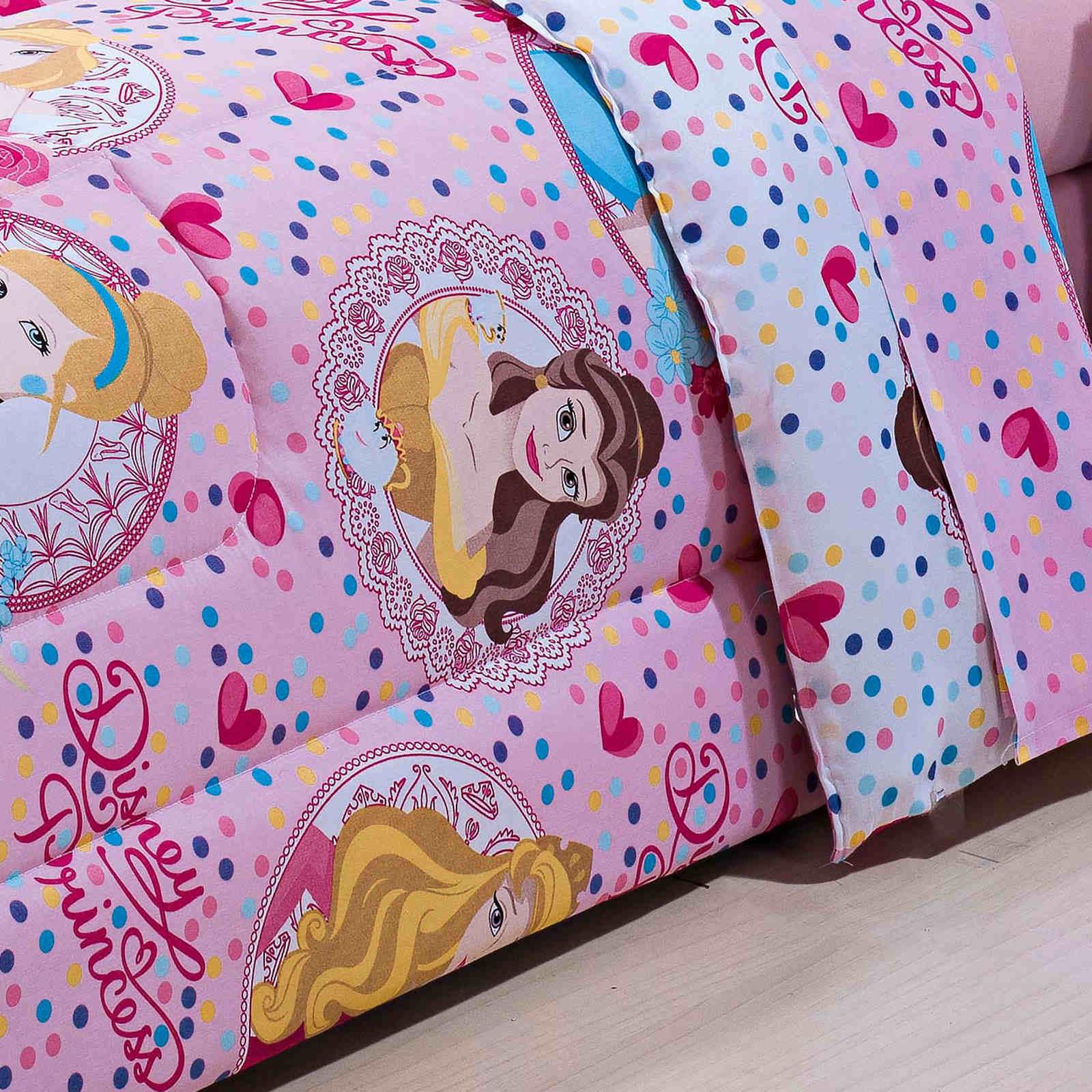 Coordenado Infantil Cama Solteiro Menina Edredom Jogo de Cama Completo 4 Peças Princesas Disney Rosa