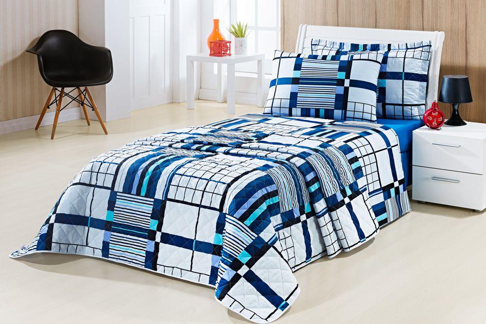 Coordenado Solteiro Pérola 05 peças 100% Algodão 200 Fios - Azul