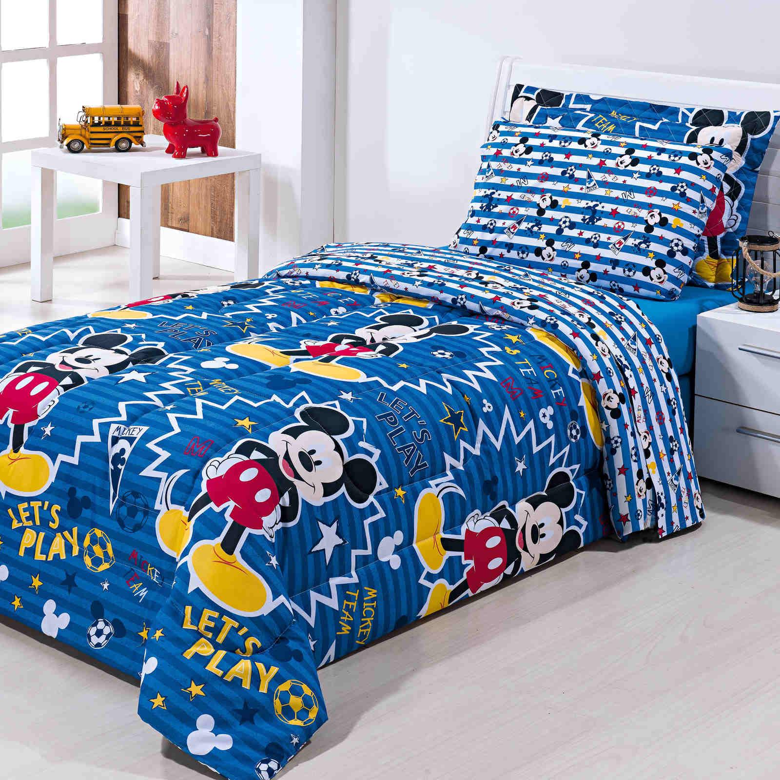 Edredom Solteiro Mickey Infantil Algodão Misto Disney Azul Dupla Face Macio Avulso 1 Peça