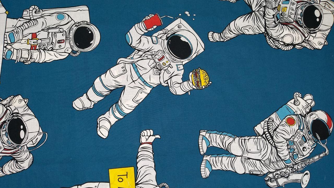 Jogo De Cama Solteiro Masculino 100% Algodão Infantil Menino Astronauta 3 Peças