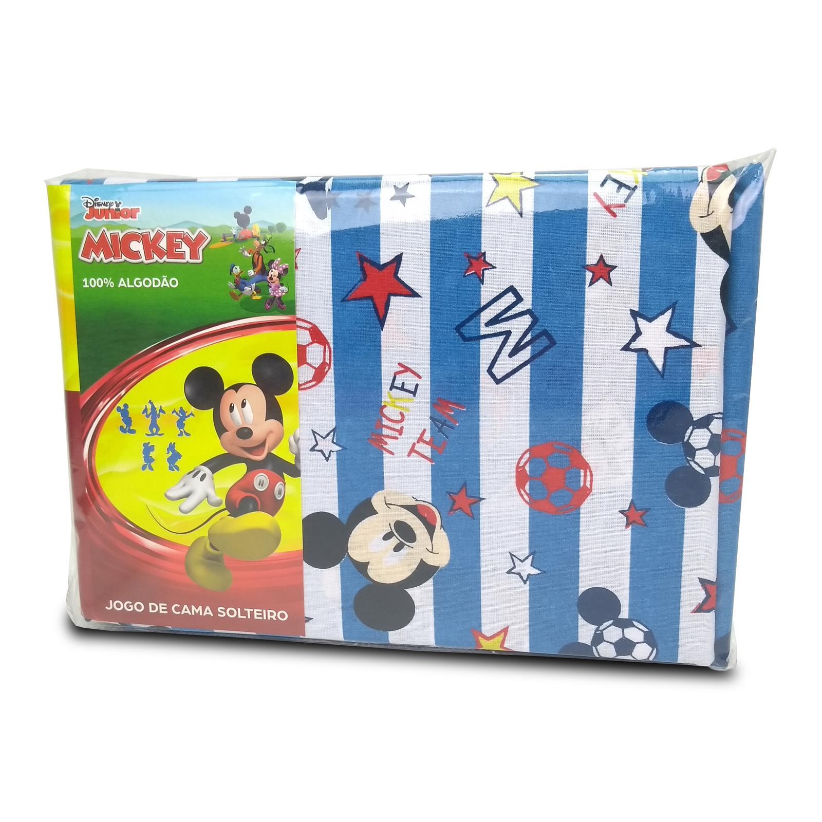 Jogo de Lençol Solteiro Infantil 100% Algodão Disney Mickey Azul Macio 3 Peças